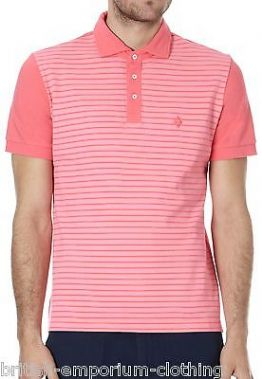 BALLANTYNE 100% Cotton Pink Striped Short Sleeved Piquet Polo T-Shirt MED BNWT